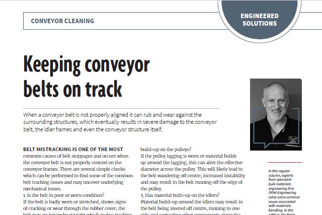 Keeping Conveyor Belts on Track DYNA Engineering Australian Bulk Handling Review March April 2019