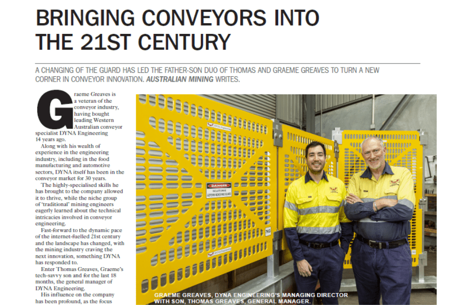DYNA Engineering Australian Bulk Handling Review Article HDPE Conveyor Guards